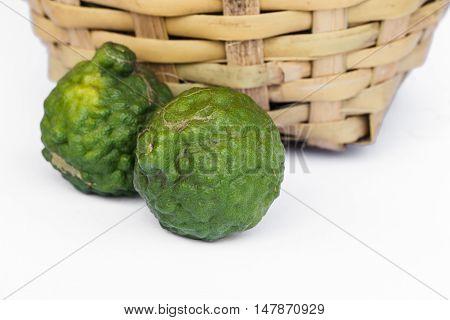 The kaffir lime green on white background.