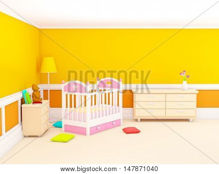 Orange baby's bedroom with crib in classic style. 3d illustration.