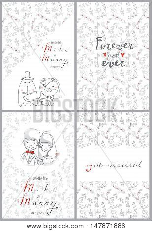 Doodle line design of wedding banner  with outline cartoon wedding icons.
