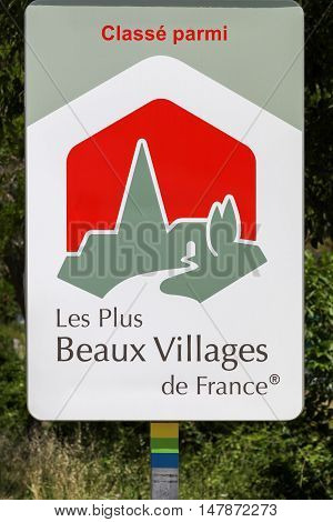 Moustiers, France - July 8, 2016: The most beautiful villages of France logo. The most beautiful villages of France is an independent association, created in 1982, that aims to promote small and picturesque French villages of quality heritage