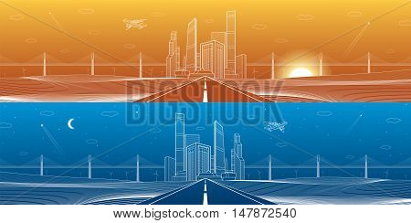 Infrastructure panorama. Highway. Big bridge, business center, architecture and urban illustration, neon city, white lines on blue and orange background, skyscrapers and towers, vector design art