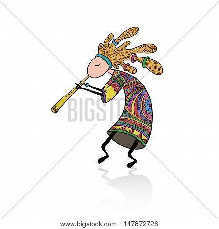 Doodle style colored Kokopelli god. Vector ethnic tribal element.