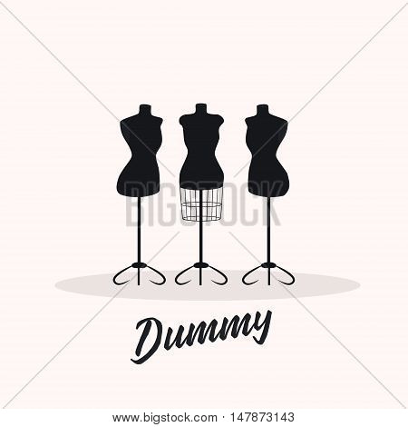 Female body vintage mannequin set. . vector illustration