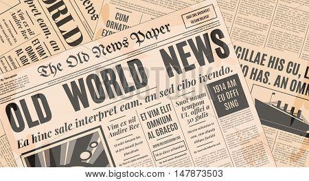 Old newspaper vintage design. Retro background vector template with text and images.