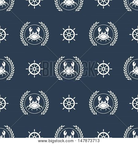 Maritime mood, Seamless nautical pattern with crabs and steering wheels