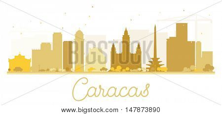 Caracas City skyline golden silhouette. Vector illustration. Simple flat concept for tourism presentation, banner, placard or web site. Cityscape with landmarks