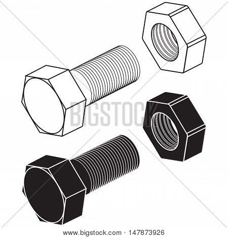 Screw bolt with nut. Vector illustration isolated on white background