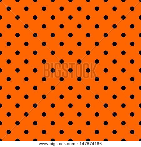 Tile vector pattern with black polka dots on orange background