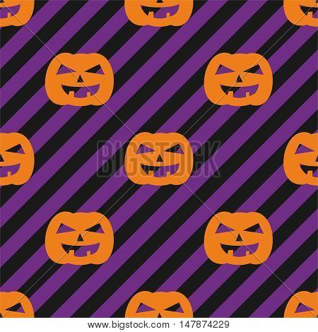 Halloween tile vector pattern with orange pumpkin on violet and black stripes background