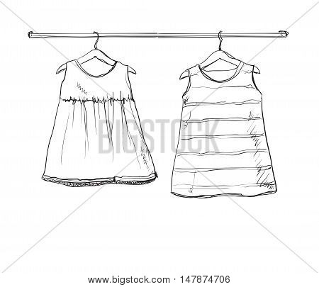 Baby dress vector sketch. Clothes on the hanger. Hand drawn wardrobe