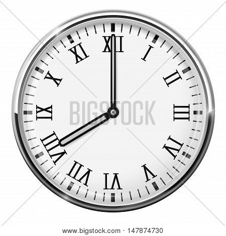 Clock dial with roman numerals. Eight o'clock. Vector illustration isolated on white background