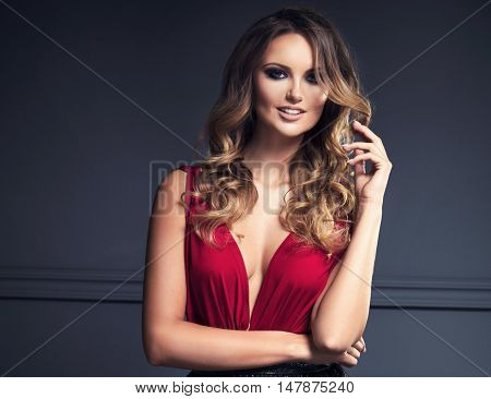 Elegant Blonde Beautiful Woman Posing.