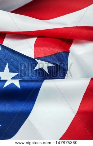 American flag made of silk Close-up background