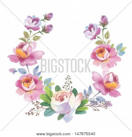Wildflower rose flower wreath in a watercolor style isolated. Full name of the herb: rose, Hulthemia, Rosa. Aquarelle flower could be used for background, texture, pattern, frame or border.