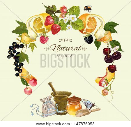 Vector fruit and berry cosmetic banner with honey and mortar. Design for natural cosmetics, health care products, aromatherapy, homeopathy, grocery, recipe book. With place for text