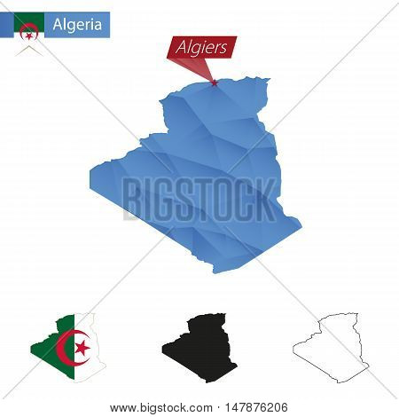 Algeria Blue Low Poly Map With Capital Algiers.