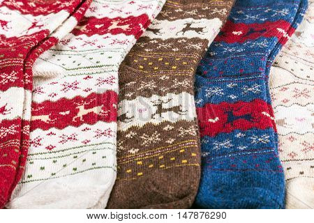 Christmas socks for the winter holiday. Background of Christmas socks
