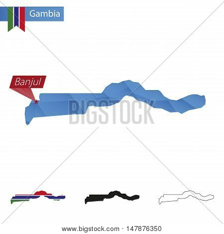 Gambia Blue Low Poly Map With Capital Banjul.