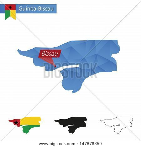 Guinea-bissau Blue Low Poly Map With Capital Bissau.