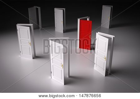 Red door among other white ones. Concepts of decision making, different opportunities etc. 3D illustration