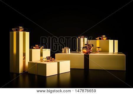 Golden Christmas presents on black background. 3D rendering