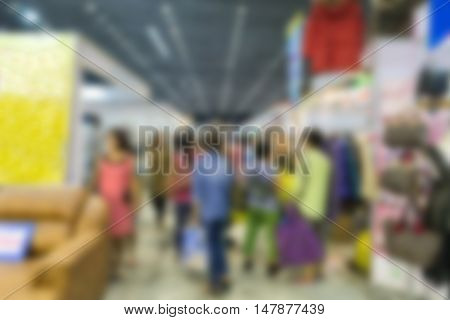 People Shopping In Exhibition Trade Fair - Blur
