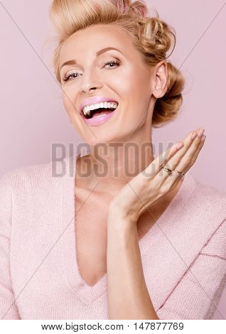 Beauty Portrait Of Smiling Blonde Woman.