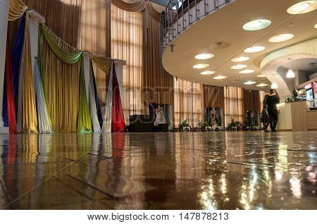 VELIKY NOVGOROD RUSSIA - SEPTEMBER 8 2016. Architecture of the interior of Regional Drama Theater named after Fyodor Dostoevsky Veliky Novgorod Russia