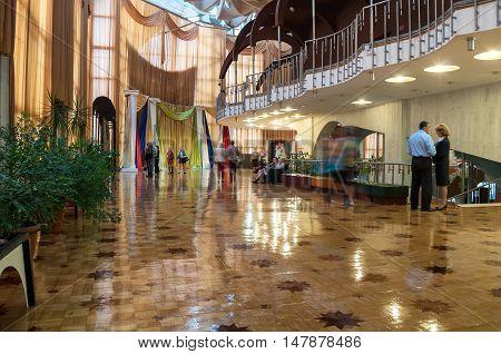 VELIKY NOVGOROD RUSSIA - SEPTEMBER 8 2016. Interior of Regional Drama Theater named after Fyodor Dostoevsky Veliky Novgorod Russia