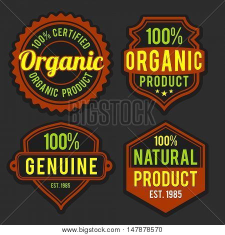 100% Organic or Natural products labels, stickers, badges or tags design on grey background.