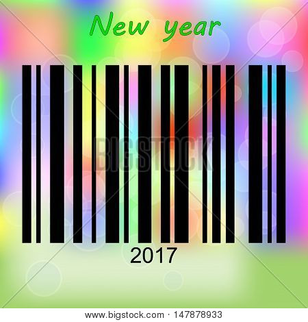 Barcode new year 2017 on abstract blurred background