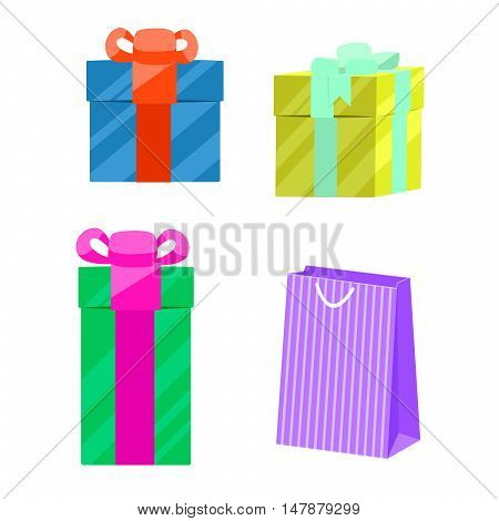 Set of gift boxes and paper gift bag vector. Boxes with ribbon bows.