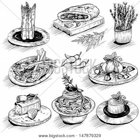 Hand Drawn Illustration With Mediterranean Food