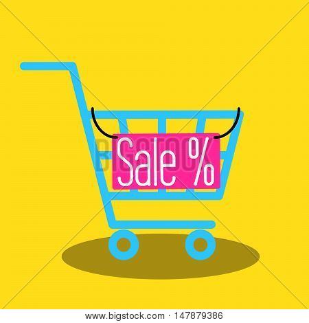 Shopping cart vector icon with sale nameplate. Empty market cart for sale banner.