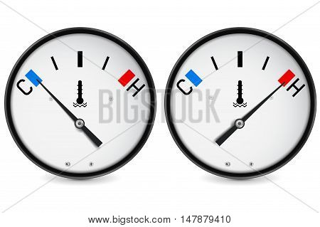Temperature gauge. Cold and hot indication. Vector illustration isolated on white background