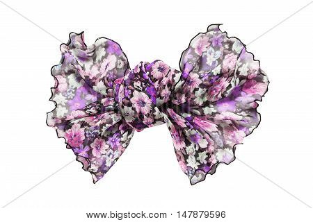 Purple pink chiffon tied bow isolated over white