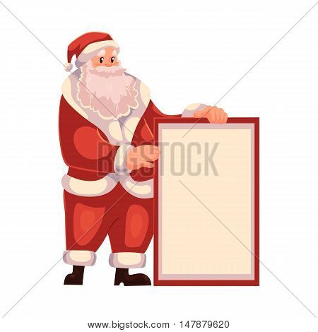 Santa Claus holding a blank board and pointing to it, cartoon style vector illustrations isolated on white background. Santa Claus showing, pointing and rising empty board, Christmas decoration