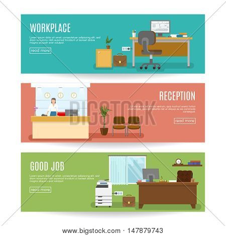 Office horizontal banners set with workplace employee at reception and good job isolated vector illustration