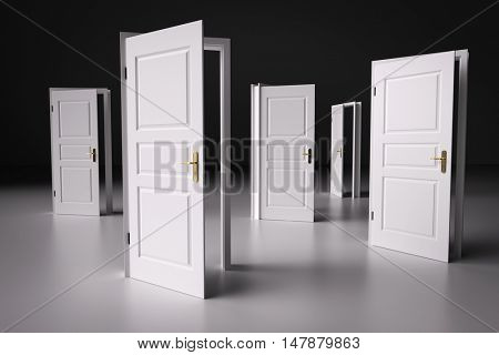 Many ways to choose from, open doors. Concepts of decision making, different opportunities etc. 3D illustration