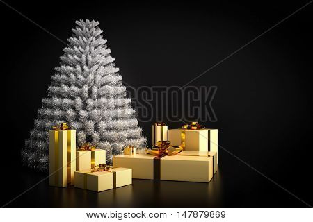Shining modern Christmas tree and presents on black background. Copy-space for the wishes to the right. 3D illustration