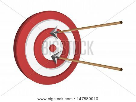 Wooden Arrows Hitting A Target Vector illustration
