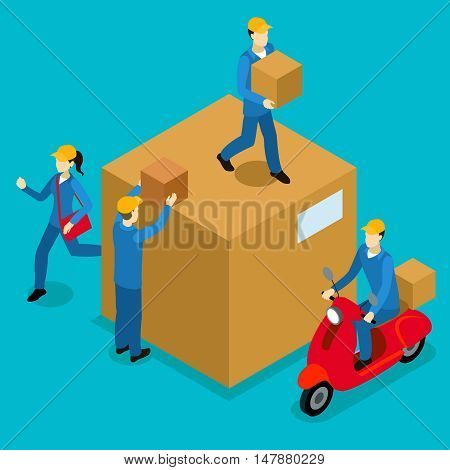 Delivery men isometric composition with courier on scooter girl with bag loaders and big carton vector illustration