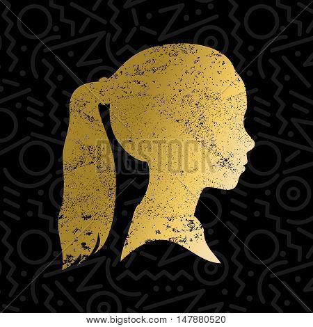 Girl face profile silhouette with ponytail hair in grunge gold color texture kid head illustration. EPS10 vector.
