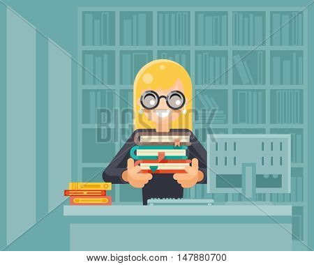 Librarian girl holding book library knowledge education learning design vector illustration