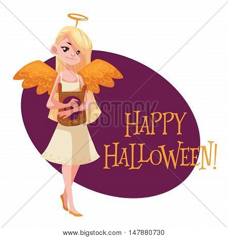 Happy girl dressed as angel for Halloween, cartoon style vector illustration isolated on white background. Little angel fancy dress idea. Trick or treat Halloween card