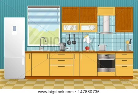 Kitchen interior concept with window yellow cupboards and cabinets blue textural wall and tiled floor vector illustration