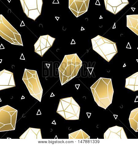 Seamless Pattern With Gold Crystal Rocks