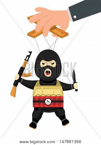Terrorist puppet  with gun, bomb and knife on ropes. Terrorist marionette on ropes controlled. Business manipulate behind scene concept. Vector flat cartoon illustration isolated on white background