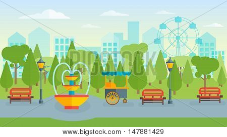 Town park flat composition with walkway and lanterns red benches fountain and street food trees vector illustration