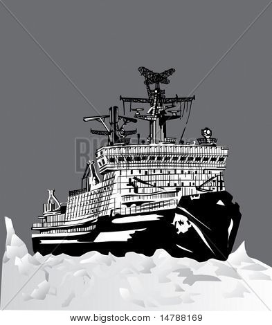 illustration with icebreaker in ice